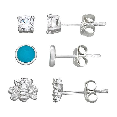 Harper Stone Silver Plated Bee/Turquoise/Cubic Zirconia Trio Earrings