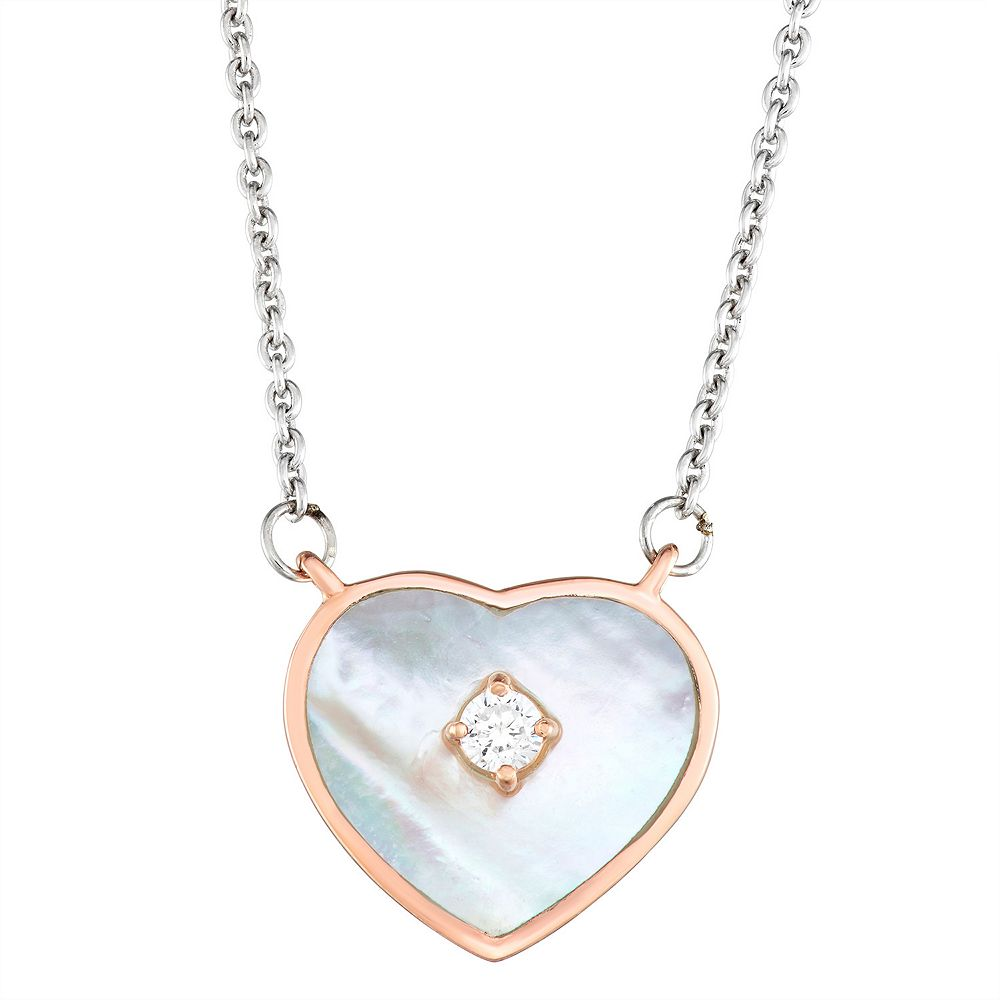 Harper Stone Rose Gold Plated Heart Cubic Zirconia Necklace