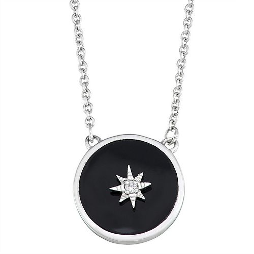 Harper Stone Silver Plated Black Round Agate Cubic Zirconia Necklace