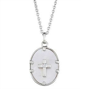 Harper Stone Silver Plated Cross Cubic Zirconia Pendant