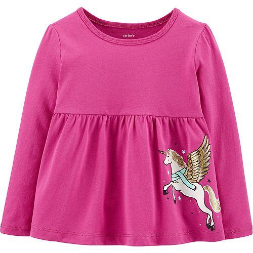 Toddler Girl Carter's Glitter Pegasus Babydoll Top