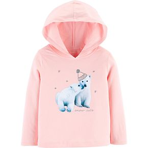 Toddler Girl Carter's Glitter Polar Bear Hooded Tee