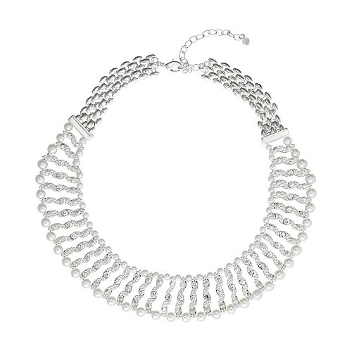 Napier Silver Tone Simulated Crystal & Simulated Pearl Beaded Choker Necklace