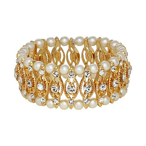 Napier Gold Tone Simulated Crystal & Simulated Pearl Stretch Bracelet