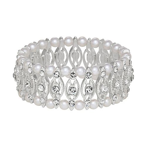 Napier Silver Tone Simulated Crystal & Simulated Pearl Stretch Bracelet