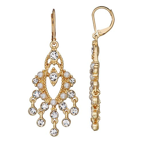 Napier Gold Tone Simulated Crystal & Simulated Pearl Chandalier Drop Earrings