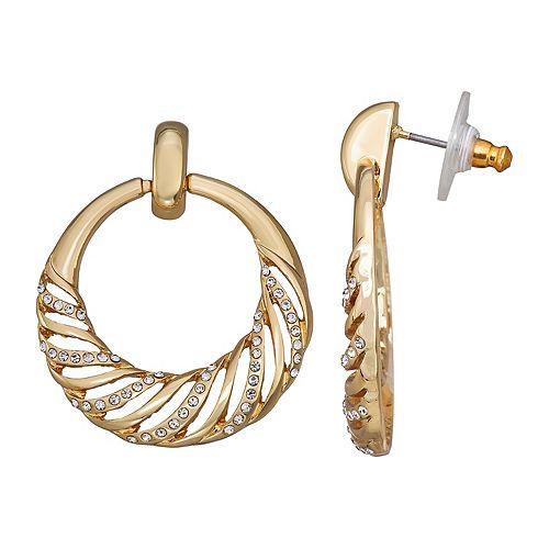 Napier Gold Tone Simulated Crystal Doorknocker Earrings