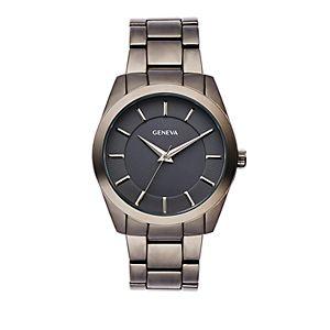 Men's Geneva Gunmetal Tone Etched Dial Bracelet Watch - KH8147GU