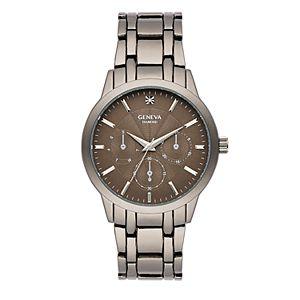 Men's Geneva Gunmetal Tone Diamond Accent Bracelet Watch