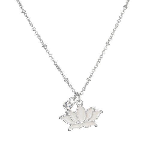 LC Lauren Conrad Simulated Crystal & Lotus Pendant Necklace