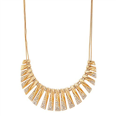 Napier Gold Tone & Crystal Twisted Metal Bar Necklace