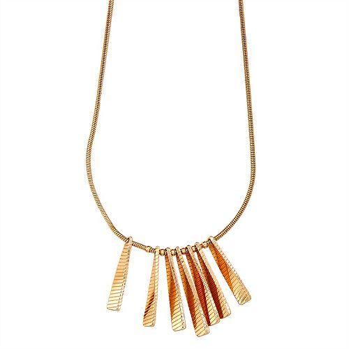Napier Gold Tone Twist Bar Pendant Necklace