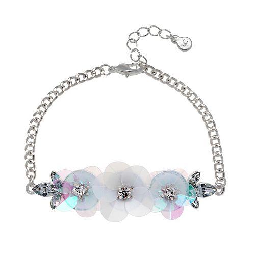 LC Lauren Conrad Simulated Crystal Floral Bracelet