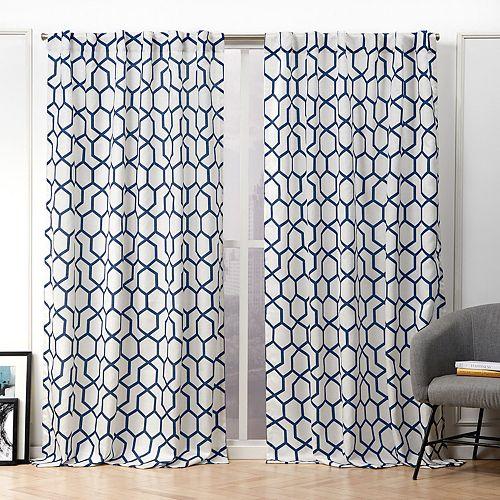 Nicole Miller 2-pack Hexa Geometric Print Hidden Tab Top Window Curtains