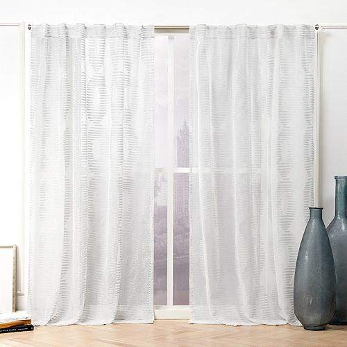 Nicole Miller 2-pack Odense Sheer Abstract Hidden Tab Top Window Curtains