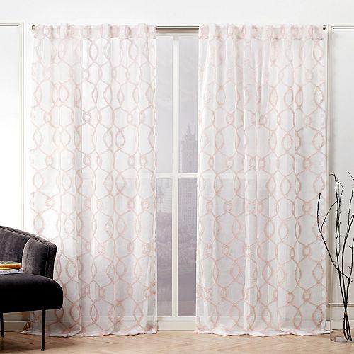 Nicole Miller 2-pack Soft Trellis Sheer Hidden Tab Top Window Curtains