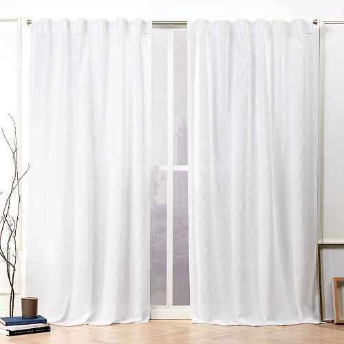 Nicole Miller 2-pack Tangled Ogee Embroidered Sheer Hidden Tab Top Window Curtains