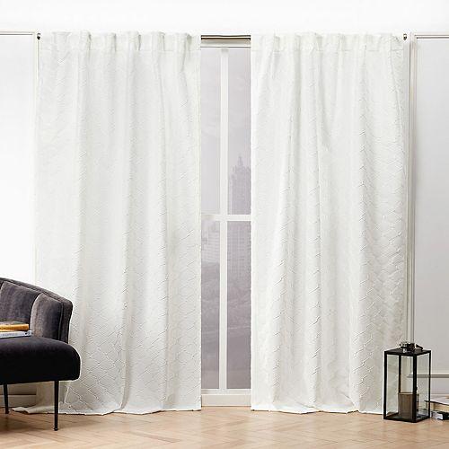 Nicole Miller 2-pack Trellis Matelasse Hidden Tab Top Window Curtains
