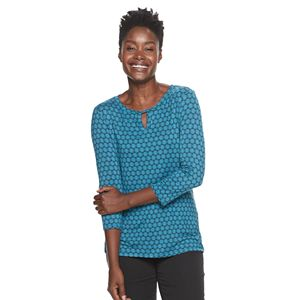 Petite Croft & Barrow® Print Twist-Neck Top