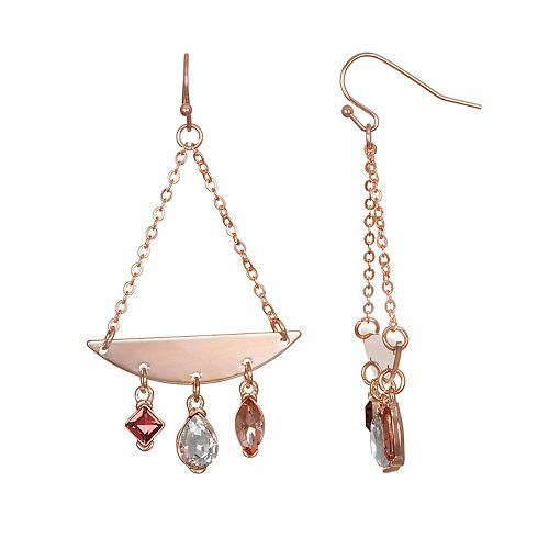 LC Lauren Conrad Simulated Crystal & Chain Teardrop Nickel Free Drop Earrings