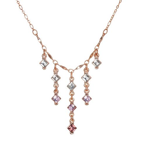 LC Lauren Conrad Rose Gold Tone Simulated Crystal Fringe Necklace