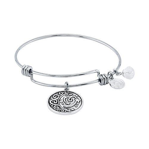LovethisLife® Moon & Heart Charm Bangle Bracelet