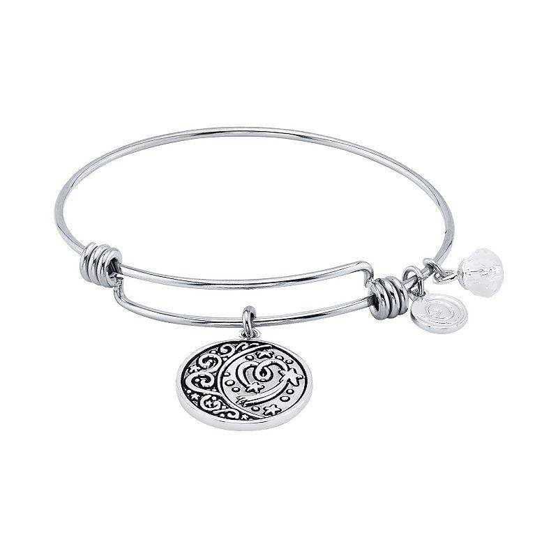LovethisLife Moon & Heart Charm Bangle Bracelet, Women's, White