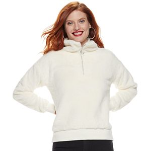 Petite Nine West Half-Zip Faux-Fur Sweater