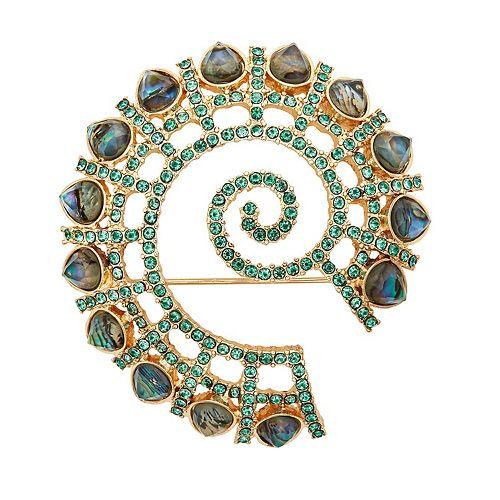 Napier Green & Gold Tone Swirl Pin