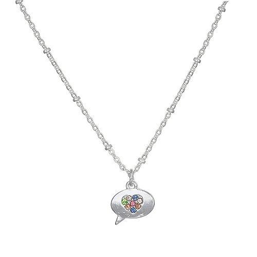 LC Lauren Conrad Rainbow Heart Word Balloon Pendant Necklace