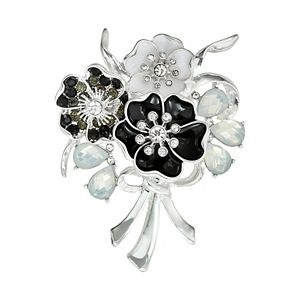 Napier Black & White Flower Bouquet Pin