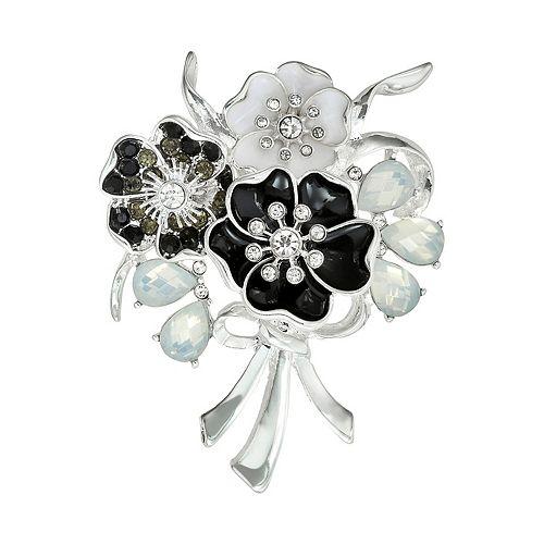 Napier Black & White Flower Bouquet Pin