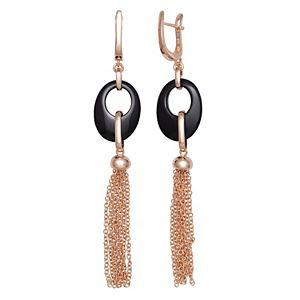 Sterling Silver Onyx Tassel Leverback Earrings