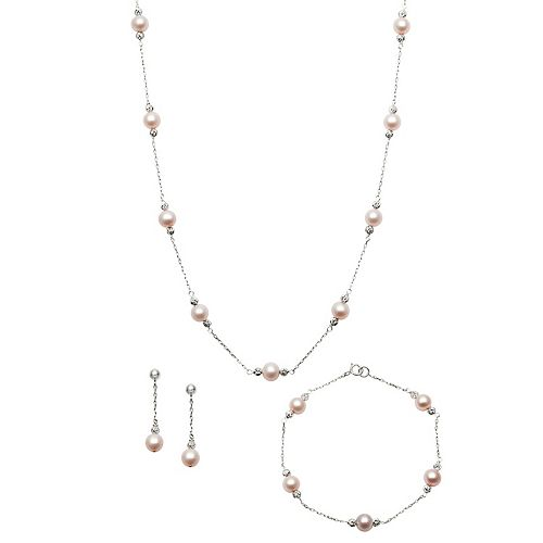 Sterling Silver Pink Freshwater Cultured Pearl Station Necklace, Bracelet & Drop Earring Set