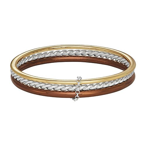 Napier Triple Tone Bangle Set