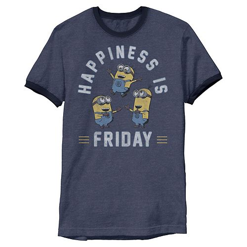 Men's Despicable Me Minions Happiness Is Friday Group Shot Ringer Graphic Tee