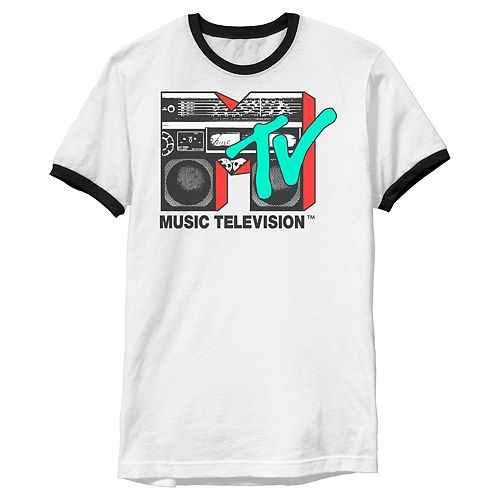 Men's MTV Logo 80's Style Black And White Boombox Ringer Graphic Tee