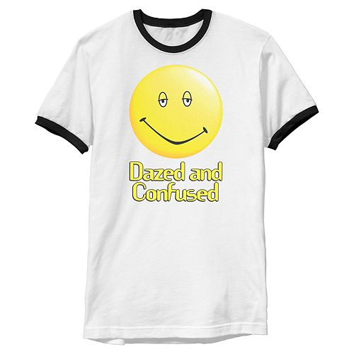Men's Dazed And Confused Droopy Smiley Face Ringer Tee