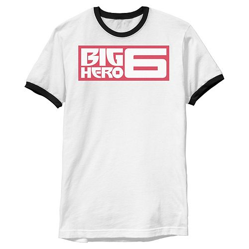 Disney's Big Hero 6 Men's Official Movie Logo Boxed Ringer Graphic Tee