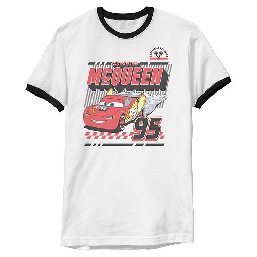 Disney / Pixar's Cars Men's McQueen Retro 95 Poster Ringer Graphic Tee