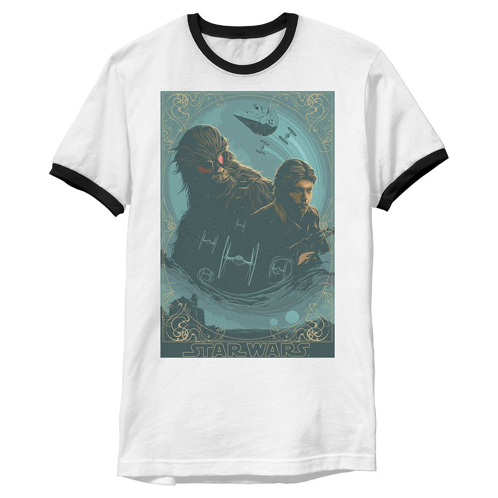Men's Star Wars Han & Chewbacca Collage Ringer Tee