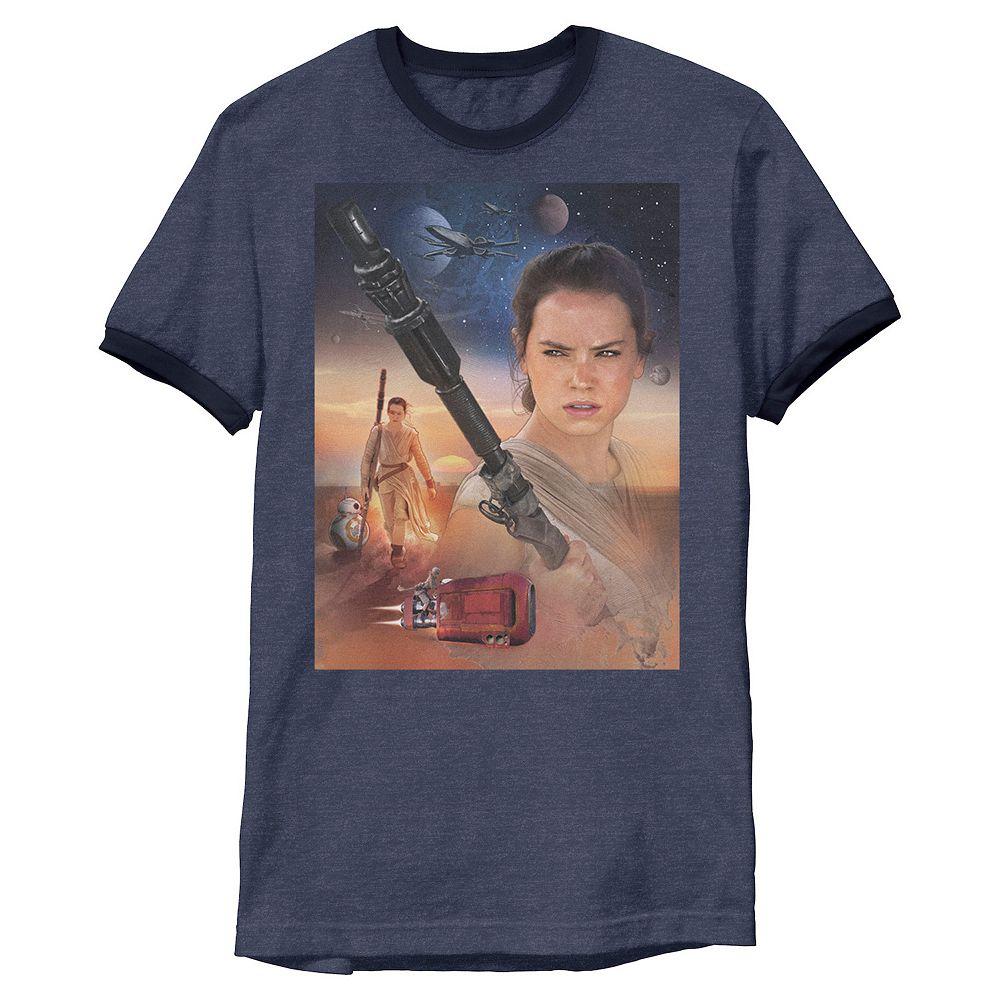 Men's Star Wars The Force Awakens Rey Collage Ringer Tee