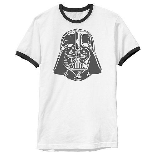 Men's Star Wars Darth Vader Helmet Ringer Graphic Tee