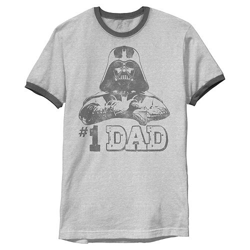 Men's Star Wars Vader #1 Dad Vintage Father's Day Ringer Graphic Tee