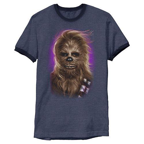 Men's Star Wars Chewbacca Glamor Shot Ringer Graphic Tee