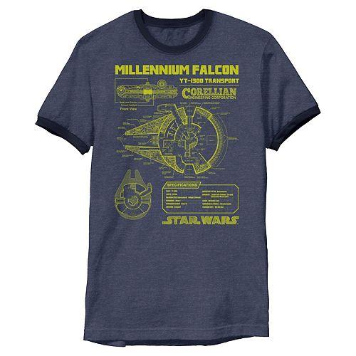 Men's Star Wars Gold Millennium Falcon Schematics Ringer Graphic Tee