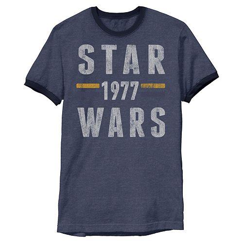 Men's Star Wars 1977 Vintage Collegiate Retro Ringer Tee