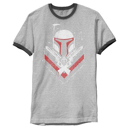 Men's Star Wars Boba Fett No Threats Only Promises Ringer Graphic Tee