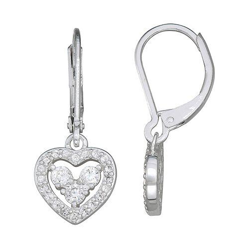 Napier Crystal Heart Drop Earrings