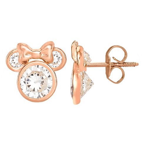 Disney's Minnie Mouse 10K Rose Gold Cubic Zirconia Stud Earrings
